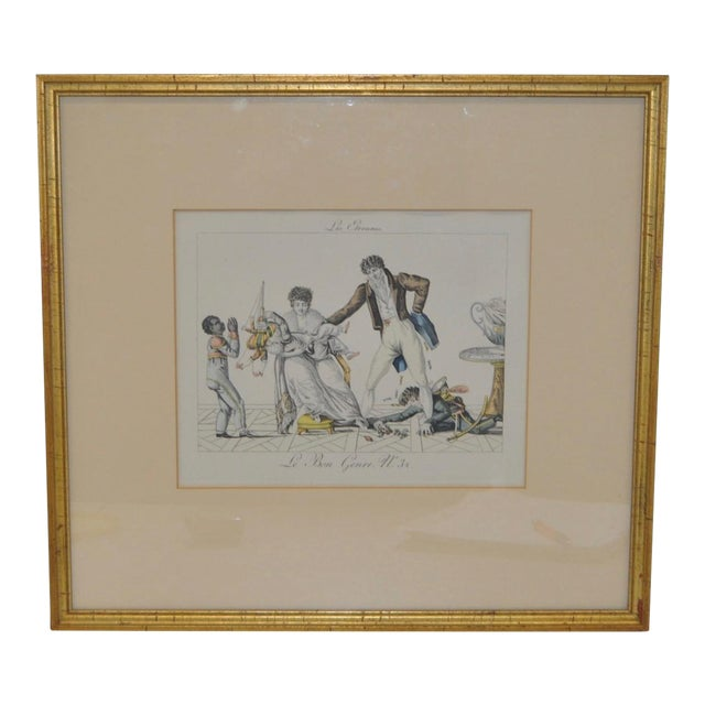 """New Year's Gifts"" Hand Colored French Engraving For Sale"