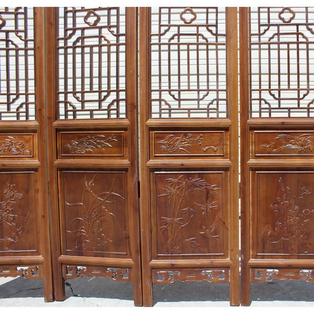 Wood Chinese Brown Geometric Pattern Theme Wood Panel Floor Screen For Sale - Image 7 of 8