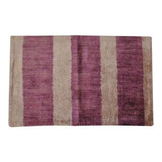 Bold Purple Stripes Silk Velvet Pillow For Sale