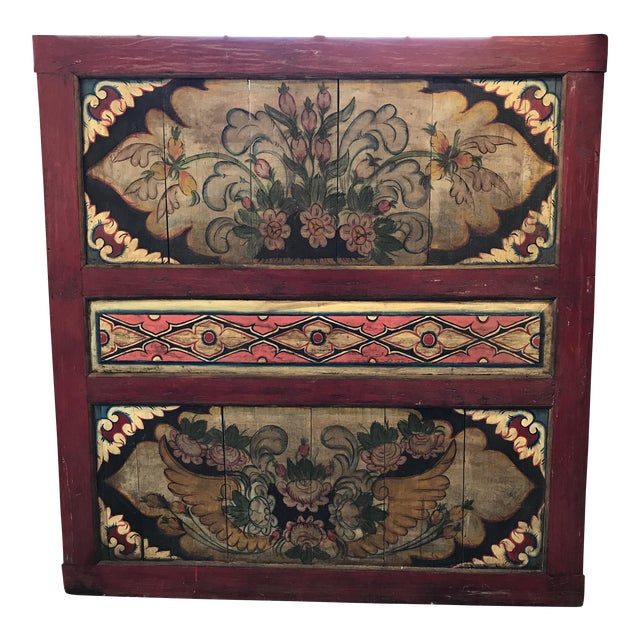 South East Asian Painted Teak Wall Panel - Image 1 of 4