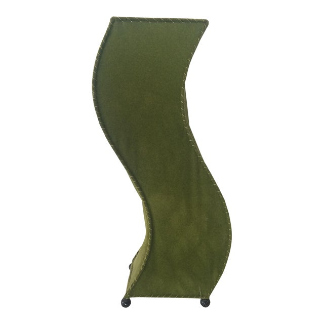 Mid-Century Moss Green Velvet Table Lamp For Sale