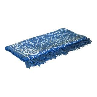 Floral Indigo Batik Throw For Sale