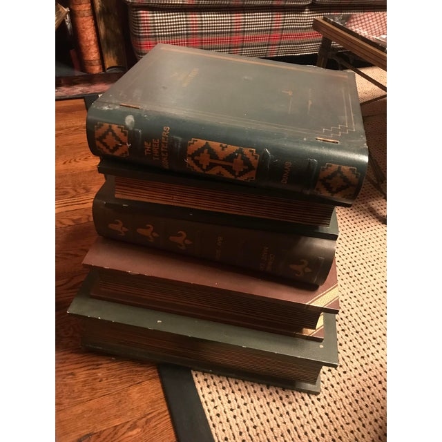 1970s Figurative Wood Faux Book-Stack End Table For Sale - Image 4 of 5