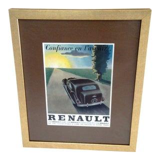 "Framed 1930s French Advertising ""Renault"" Print"