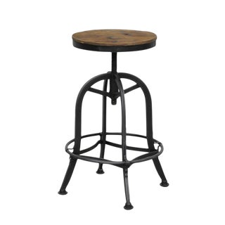 Reclaimed Wood & Iron Counter Stool For Sale