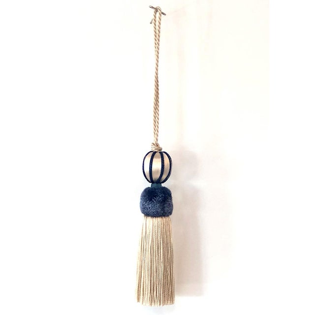 2010s Marine Blue & Cream Beaded Key Tassel - H 4.5 - Inches For Sale - Image 5 of 8