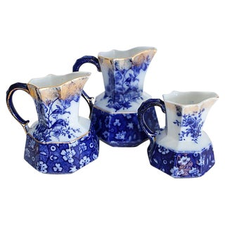 Flow Blue Jugs w/ Serpent Handles - Set of 3 For Sale
