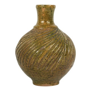 Antique Yellow Green Pottery Vase For Sale