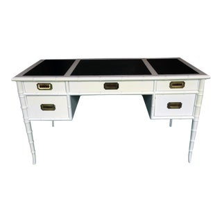 Campaign Black & White Faux Bamboo Desk For Sale
