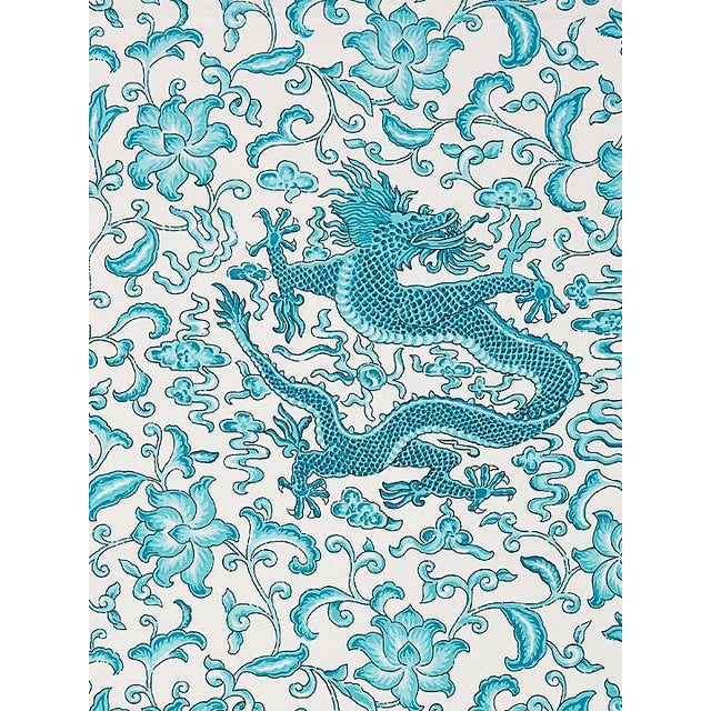 Scalamandre Chi'En Dragon Linen Print, Turquoise Fabric For Sale