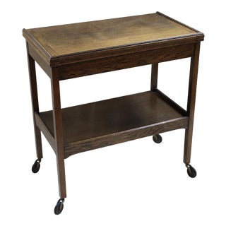 Vintage Oak Flip-Top Bar Cart For Sale