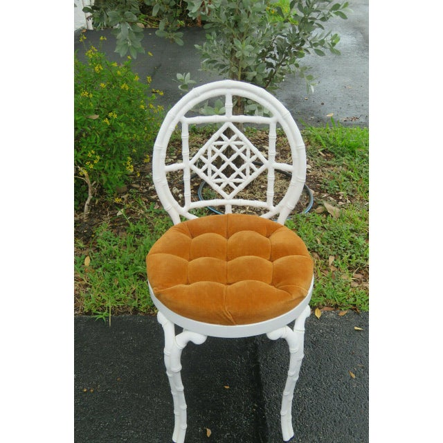 Orange 1970s Vintage Hollywood Regency Painted Iron Faux Bamboo Side Chair Stool by Kessler For Sale - Image 8 of 13