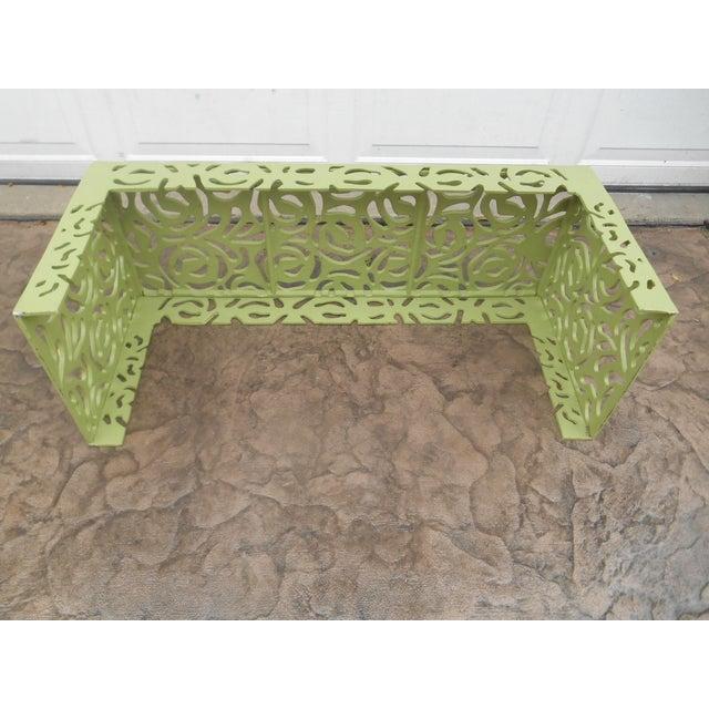 Contemporary Pistachio Iron Patio/Garden Bench For Sale - Image 6 of 9