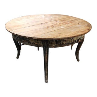 Swedish Circular Table With Pine Top and Painted Base For Sale