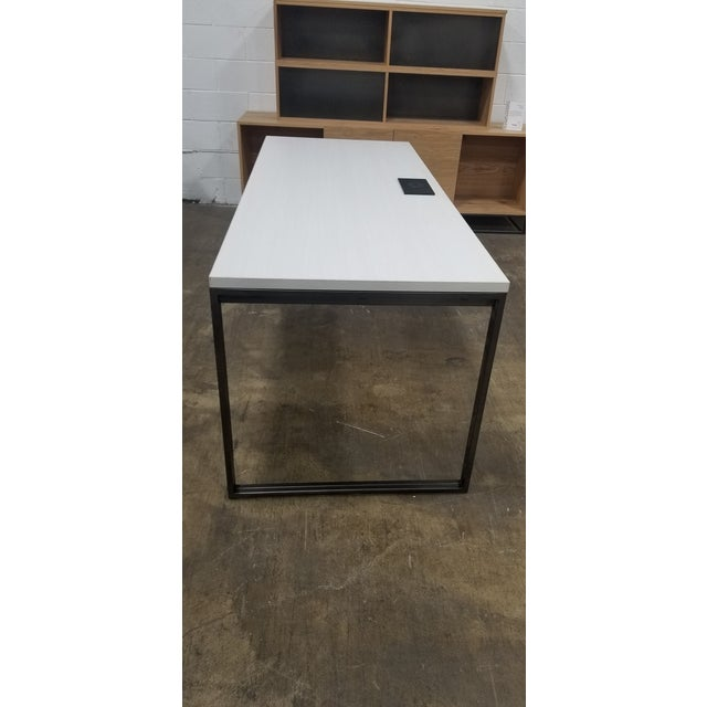 Industrial West Elm Industrial White Wood Grain Desk For Sale - Image 3 of 6