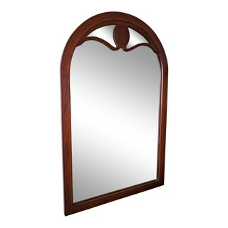 Line Inlaid Arched Neoclassical Mahogany Wall Mirror