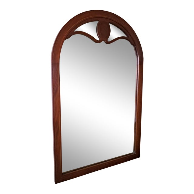 Line Inlaid Arched Neoclassical Mahogany Wall Mirror For Sale
