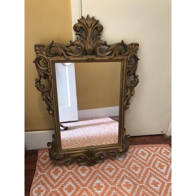 Mid-Century Gold Scroll Mirror - Image 2 of 9