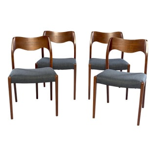 Set of Four Danish Mid Century Teak Chairs With New Upholste