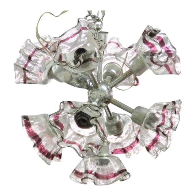 Italian Modern Art Glass and Chrome Chandelier For Sale