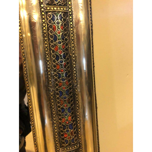 Pair of Moroccan Hollywood Regency Style Silver & Brass Console or Wall Mirrors For Sale In New York - Image 6 of 11