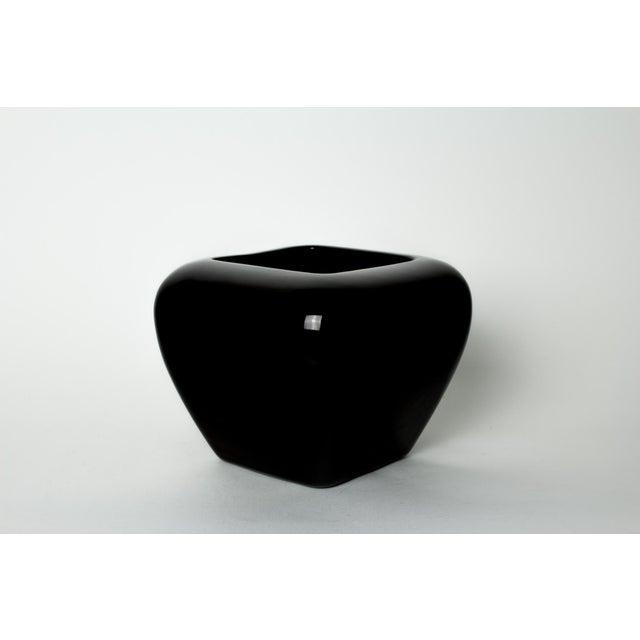 Haeger Black Ceramic Rounded Square Vase Planter Chairish