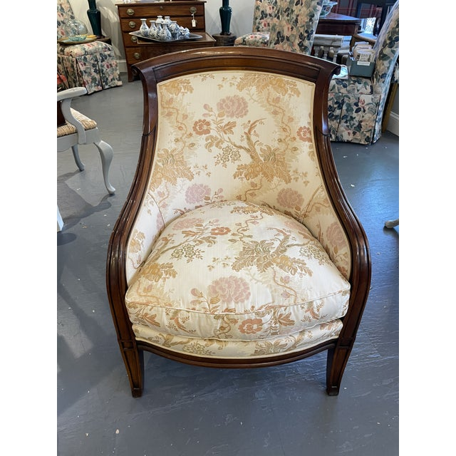2000s Mahogany Floral Upholstered Bergere Style Chair For Sale In Boston - Image 6 of 6