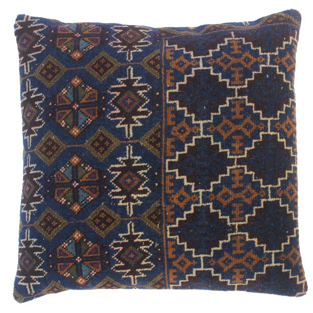 "Enid Blue/Brown Antique Kilim Handmade Throw Pillow(18""x18"") For Sale"