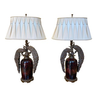 Cast Bronze Peacock Lamps - a Pair For Sale