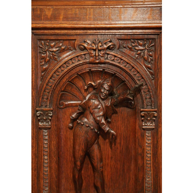 Mid 19th Century Pair of 19th Century French Henri II Carved Oak Doors With High Relief Carvings For Sale - Image 5 of 8