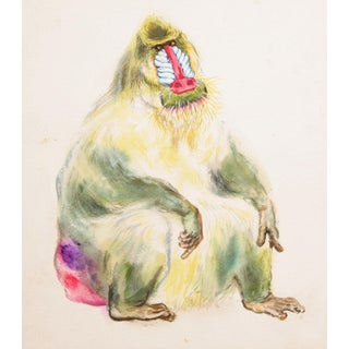 "Marshall Goodman, ""Mandrill"", Primate Watercolor For Sale"