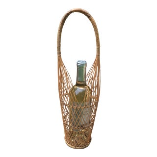 Vintage Rattan Reed Wicker Wine Caddy For Sale