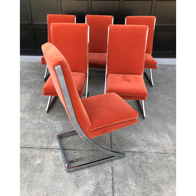 Burnt Orange Milo Baughman Chrome Z Dining Chairs for Design Institute of America - Set of 6 For Sale - Image 8 of 12