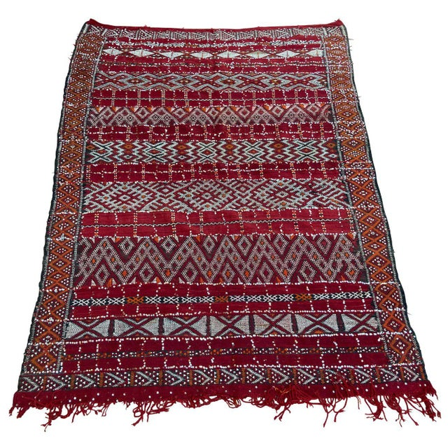 Moroccan Vintage Ethnic Textile with Sequins North Africa, Handira For Sale - Image 13 of 13
