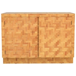 Midcentury Two-Door Rattan Cabinet For Sale