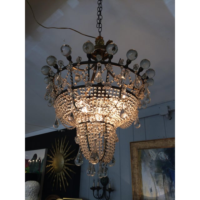 Unbelievably romantic and rare chandelier having amazing large crystal balls around the circular top with graduated...