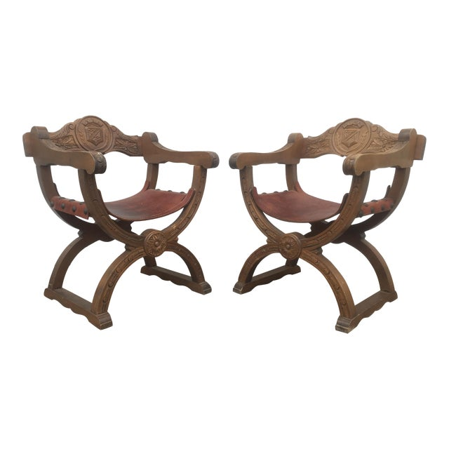 Vintage Spanish Leather & Wood Chairs - A Pair - Image 1 of 9