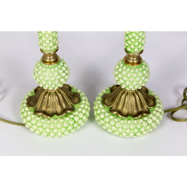 Metal Mid Century Green Hobnail Ceramic and Brass Lamps - a Pair For Sale - Image 7 of 9
