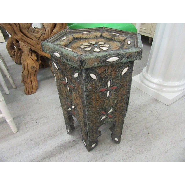 Tin & Gemstone Moroccan Occasional Table - Image 3 of 7