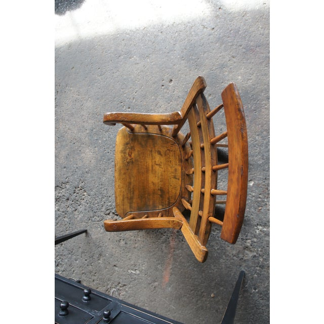 19th Century Antique Chestnut Windsor Comb Back Rocking Chair For Sale - Image 10 of 13