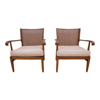 1940s Walter & Wilhelm Knoll Cane and Cherry Armchairs - a Pair For Sale