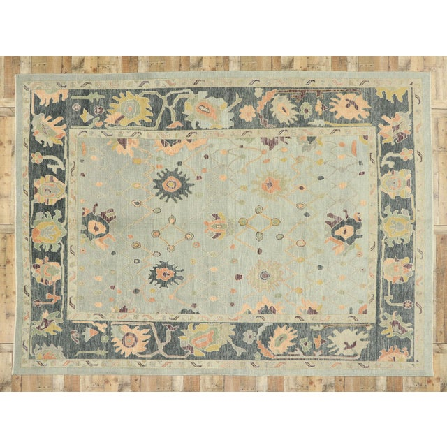 Gray Contemporary Turkish Oushak Rug With Modern Style - 10'03 X 14'02 For Sale - Image 8 of 9