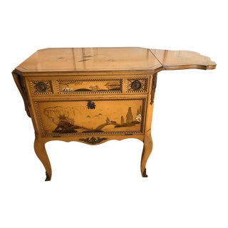1900s Johnson Furniture Pembroke Table Cabinet Chinoiserie Decor For Sale