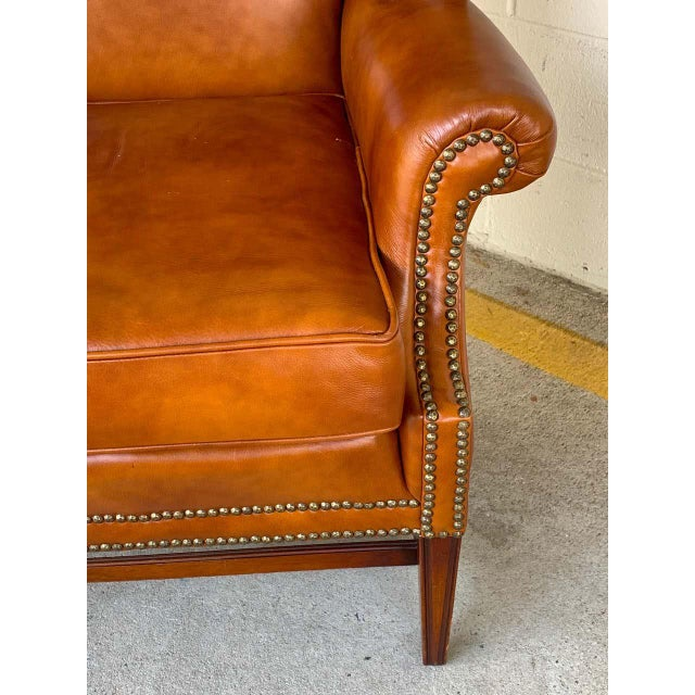 Mid 20th Century English Saddle Leather Mahogany Wingback Chair For Sale - Image 5 of 9