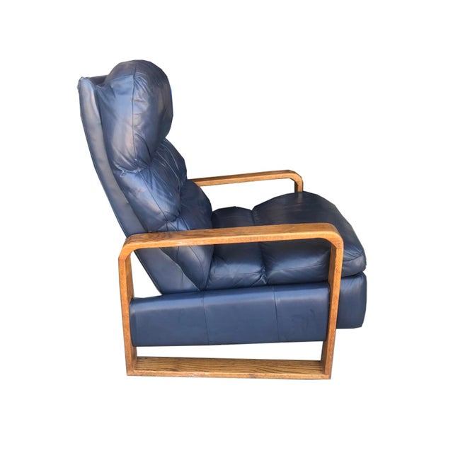 Mid-Century Modern Leather Wood Recliner Lounge Chair ...