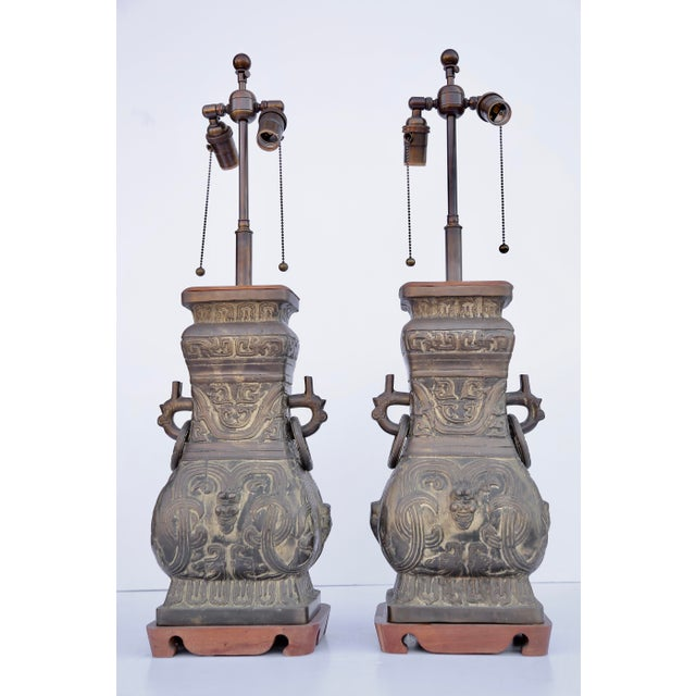 1940s Asain Bronze Lamps - a Pair For Sale - Image 5 of 5