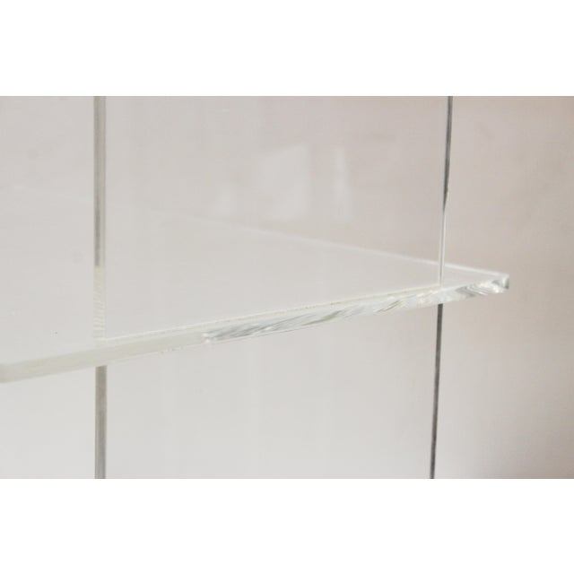 Transparent Modern Acrylic Bar Cart or Side Table on Casters For Sale - Image 8 of 9