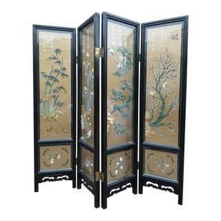 Antique Imported Asian Hand Painted Glass Enclosed Mother of Pearl Design 4 Panel Screen / Room Divider by Johnson Carved Furniture Co. For Sale