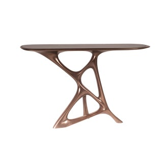 Amorph Anika Console, Bronze Finish With Black Marble For Sale