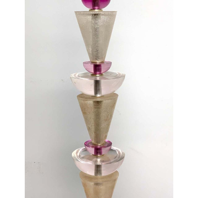 Transparent Modern Van Teal Lucite Column Lamps -A Pair For Sale - Image 8 of 9